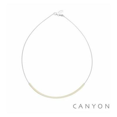 Collier argent câble décoré d'un tube d'émail ivoire - Canyon
