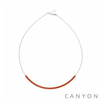 Collier argent câble décoré d'un tube d'émail rouge - Canyon