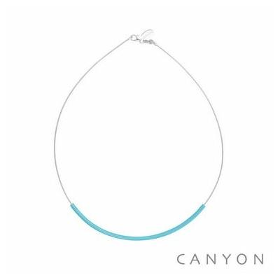 Collier argent câble décoré d'un tube d'émail turquoise - Canyon