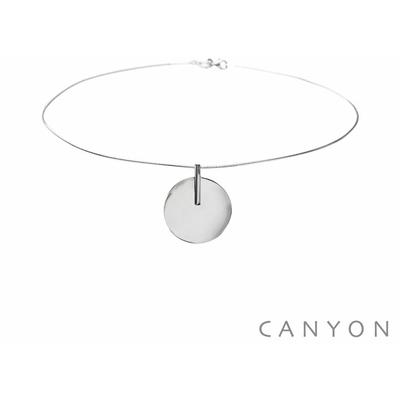 Collier argent cable et d'un disque gondolé - Canyon