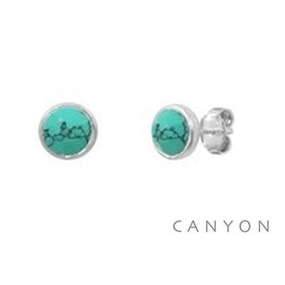 Boucles d'oreilles puces rondes argent turquoise reconstituée  - Canyon