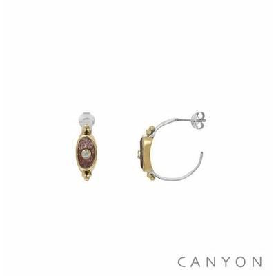 Boucles d'oreilles créoles argent et laiton petit rectangle arrondi  quartz fraise et petite pierre de lune - Canyon