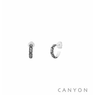 Boucles d'oreilles créoles gravées oxydées - Canyon