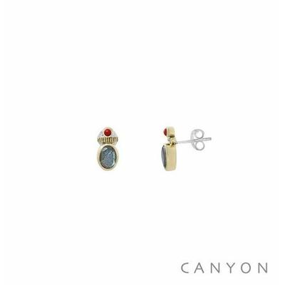 Boucles d'oreilles créoles argent et laiton petite labradorite et d'un petit corail rouge  - Canyon