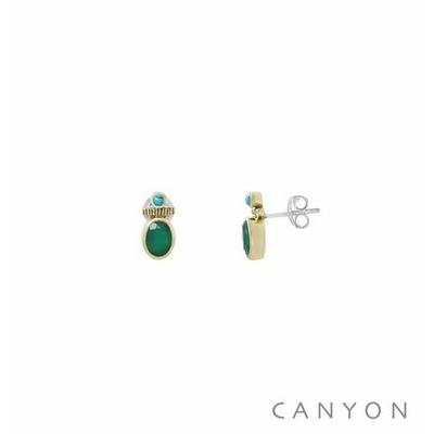 Boucles d'oreilles créoles argent et laiton petite onyx vert et d'une petite turquoise reconstituée  - Canyon