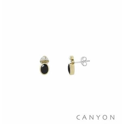 Boucles d'oreilles créoles argent et laiton petite onyx noir et d'une petite perle synthétique - Canyon
