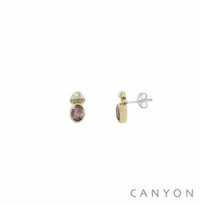 Boucles d'oreilles créoles argent et laiton petite quartz fraise et petite perle synthétique - Canyon