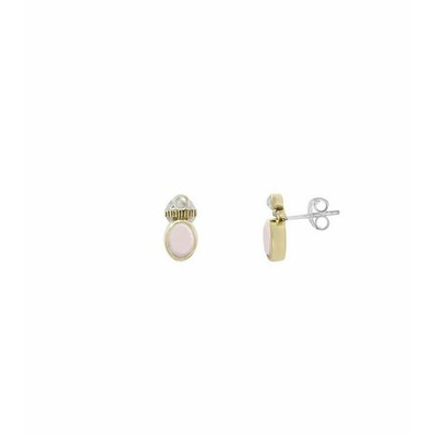 Boucles d'oreilles créoles argent et laiton petite opale rose et petite perle synthétique  - Canyon