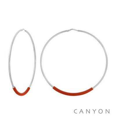 Boucles d'oreilles créoles argent grand modèle tube d'émail rouge - Canyon