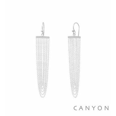 Boucles d'oreilles crochet argent chainettes pendantes formant un U - Canyon