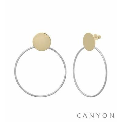 Boucles d'oreilles argent puces rond doré décoré d'un cercle rhodié Ø4 cm - Canyon