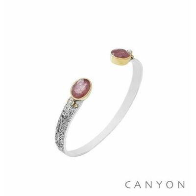 Bracelet bangle argent petit modèle 2 quartz fraise ovales et de 2 perles - Canyon