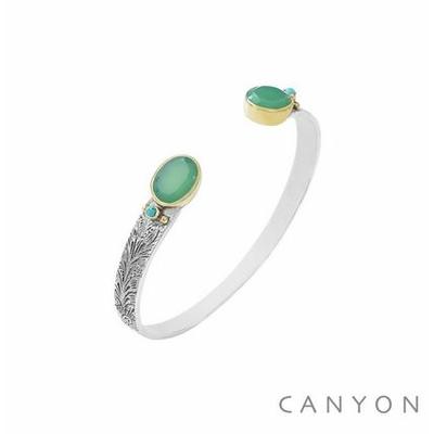 Bracelet bangle argent petit modèle 2 chrysoprases ovales et de 2 turquoises - Canyon