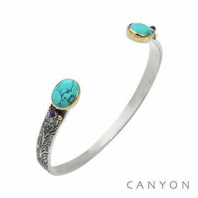 Bracelet bangle argent petit modèle 2 turquoises reconstituées ovales et de 2 lapislazuli - Canyon