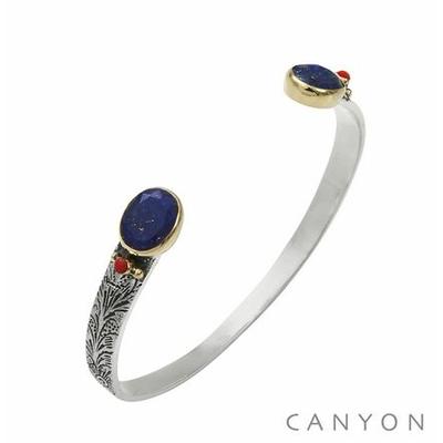 Bracelet bangle argent petit modèle  2 lapislazuli ovales et de 2 corail rouge synthétique - Canyon
