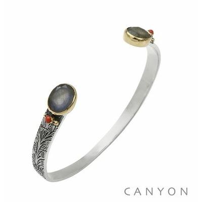 Bracelet bangle argent petit modèle 2 labradorites ovales et de 2 coraux rouge synthétiques - Canyon