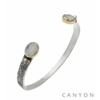 Bracelet bangle argent petit modèle 2 pierres de lune ovales et de 2 perles synthétiques - Canyon
