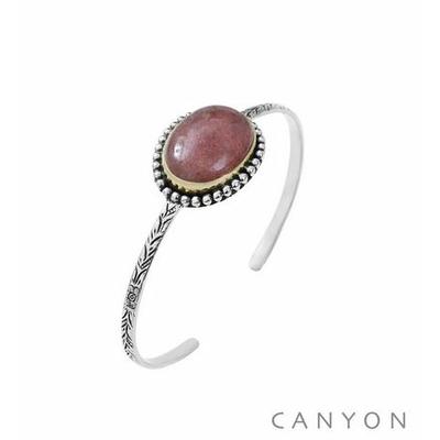 Bracelet argent rigide décoré d'un grand quartz fraise - Canyon