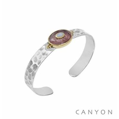 Bracelet argent jonc martelé grand quartz fraise ovale et d'une petite pierre de lune - Canyon