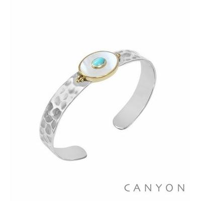Bracelet argent jonc martelé grande nacre ovale et d'une petite turquoise reconstituée - Canyon