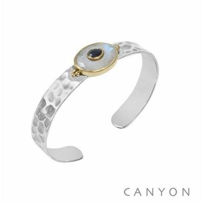 Bracelet argent jonc martelé grande pierre de lune ovale et d'une petite sillimanite bleu - Canyon