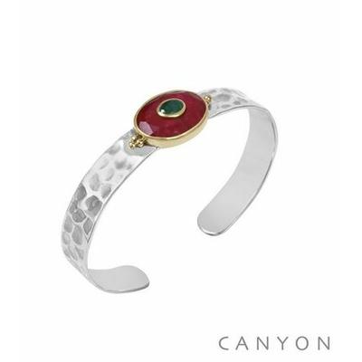 Bracelet argent jonc martelé grande sillimanite rouge ovale et d'une petite sillimanite verte - Canyon