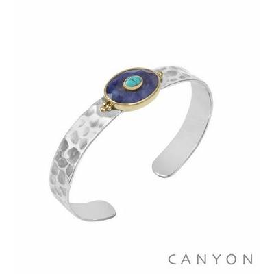 Bracelet argent jonc martelé grande sillimanite bleu ovale et d'une petite turquoise reconstituée - Canyon