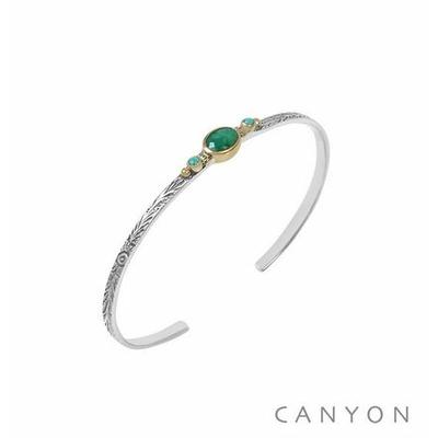 Bracelet argent jonc ouvert anneau gravé et décoré d'une une sillimanite verte et de 2 petites turquoises reconstituées - Canyon