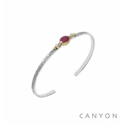 Bracelet argent jonc ouvert anneau gravé et décoré d'une sillimanite rouge et de 2 perles synthétiques blanches - Canyon