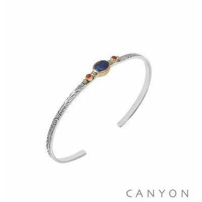 Bracelet argent jonc ouvert anneau gravé et décoré d'un lapislazuli et de 2 perles corail rouge synthétiques - Canyon