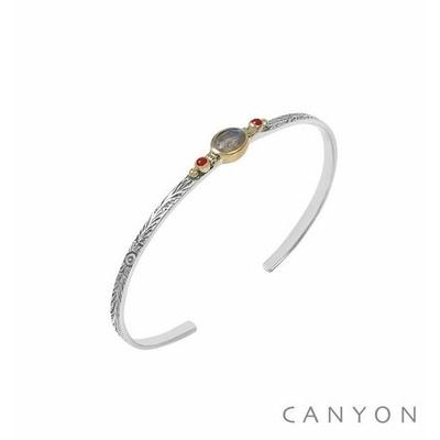 Bracelet argent jonc ouvert anneau gravé et décoré d'une labradorite et de 2 perles corail rouge synthétique - Canyon