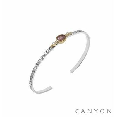 Bracelet argent jonc ouvert anneau gravé et décoré d'un quartz fraise et de 2 perles synthétiques - Canyon