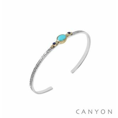 Bracelet argent jonc ouvert anneau gravé et décoré d'une turquoise reconstituée et de 2 lapis serties - Canyon