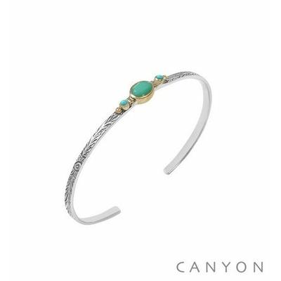 Bracelet argent jonc ouvert anneau gravé et décoré d'un chrysoprase et de 2 turquoises reconstituées - Canyon