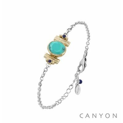 Bracelet argent chainette turquoise reconstituée ovale  2 lapis sertis par anneaux laiton - Canyon
