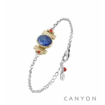 Bracelet argent chainette lapislazuli ovale et de 2 coraux rouge synthétiques sertis par anneaux laiton - Canyon