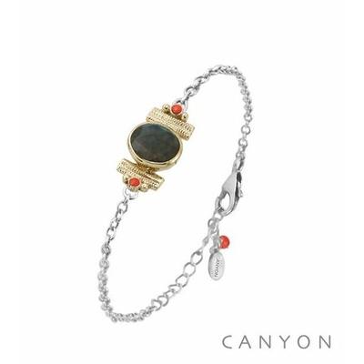 Bracelet argent chainette labradorite ovale et de 2 coraux rouge synthétiques sertis par anneaux laiton - Canyon