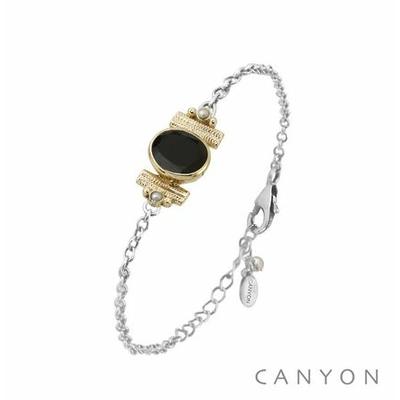 Bracelet argent chainette onyx noir ovale et de 2 perles blanches synthétiques sertis par anneaux laiton - Canyon