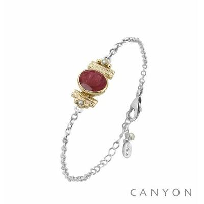Bracelet argent chainette sillimanite teintée rouge ovale et de 2 perles blanches synthétiques sertis par anneaux laiton - Canyon