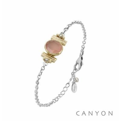 Bracelet argent chainette calcédoine rose ovale et de 2 perles blanches synthétiques sertis par anneaux laiton - Canyon