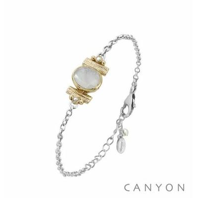 Bracelet argent chainette  pierre de lune ovale et de 2 perles blanches synthétiques sertis par anneaux laiton - Canyon