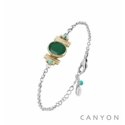 Bracelet argent chainette onyx verte ovale et de 2 turquoises reconstituées sertis par anneaux laiton - Canyon