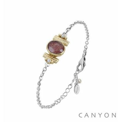 Bracelet argent chainette quartz fraise ovale et de 2 perles synthétiques sertis par anneaux laiton - Canyon