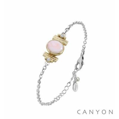 Bracelet argent chainette opale rose ovale et de 2 perles synthétiques sertis par anneaux laiton - Canyon