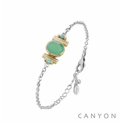Bracelet argent chainette chrysoprase ovale et de 2 turquoises reconstituées sertis par anneaux laiton - Canyon
