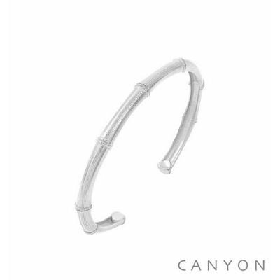 Bracelet argent petite manchette inspirée du bambou - Canyon