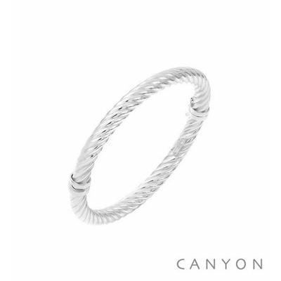 Bracelet argent jonc ovale section ronde moyen modèle torsadé serré  - Canyon