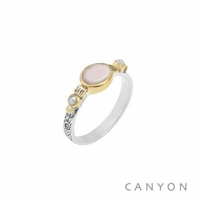 Bague argent 925 opale rose et de perles synthétiques blanches serties de laiton - Canyon