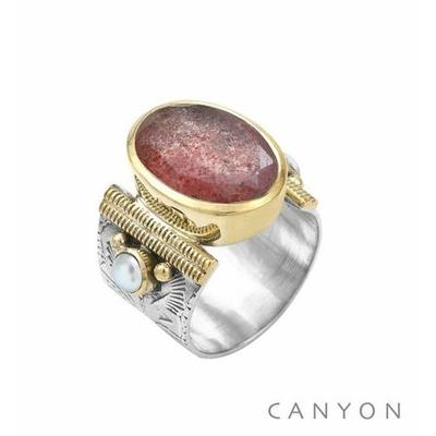Bague argent 925 quartz fraise ovale et 2 perles serties - Canyon