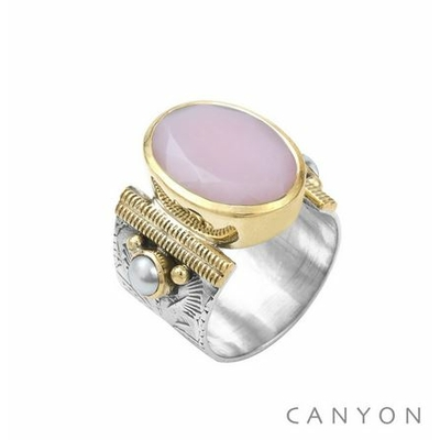Bague argent 925 opale rose ovale et 2 perles serties - Canyon